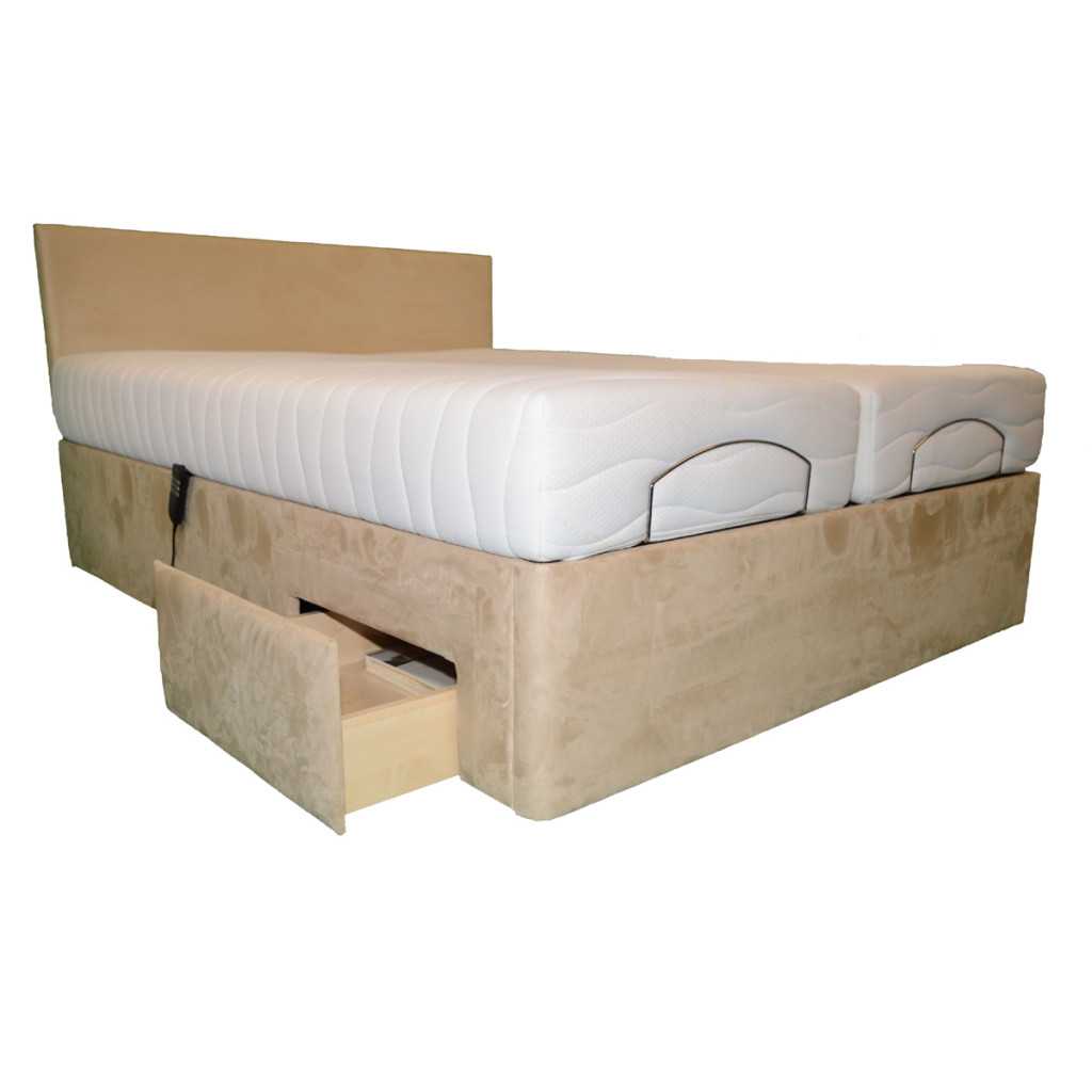 florence dual adjustable bed shown with optional side drawer